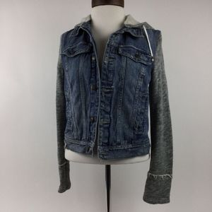 Free People Hooded Denim Jean Jacket Hoodie